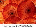 Orange Umbrellas Background