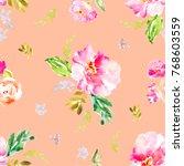 cute  repeating flower pattern... | Shutterstock . vector #768603559