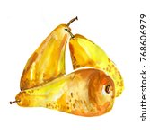 pears hand drawn. watercolor... | Shutterstock . vector #768606979