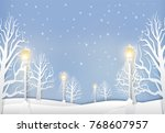 winter landscape with lamp post ... | Shutterstock .eps vector #768607957