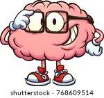 nerdy cartoon brain adjusting... | Shutterstock .eps vector #768609514
