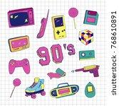 set of elements in trendy 80s... | Shutterstock .eps vector #768610891
