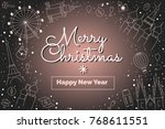 deep merry christmas and happy... | Shutterstock .eps vector #768611551