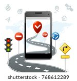 mobile navigation concept with... | Shutterstock .eps vector #768612289