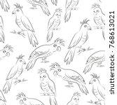 seamless pattern  cartoon birds ... | Shutterstock . vector #768613021