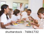 Stock photo students sitting at cafeteria table eating lunch 76861732