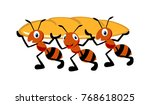 abstract ant carrying bun | Shutterstock .eps vector #768618025