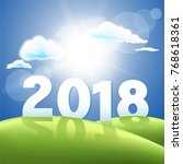 2018 new year and sunshine... | Shutterstock .eps vector #768618361