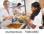 Stock photo students in cafeteria line being served lunch 76861882