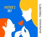 beautiful mom silhouette with... | Shutterstock .eps vector #768618871