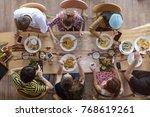 top view of happy people... | Shutterstock . vector #768619261