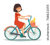 parisian girls on the bike... | Shutterstock .eps vector #768621055