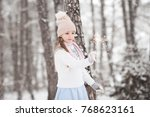 smiling kid girl 4 5 year old... | Shutterstock . vector #768623161