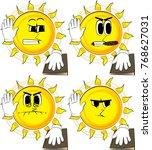 cartoon sun raising his hand... | Shutterstock .eps vector #768627031