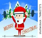 weightlifter santa claus... | Shutterstock .eps vector #768627271