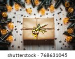 christmas gift box with a bow... | Shutterstock . vector #768631045