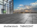 night view of empty brick floor ... | Shutterstock . vector #768632347