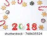 christmas gingerbread cookies...   Shutterstock . vector #768635524