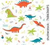 vector seamless childish... | Shutterstock .eps vector #768636691