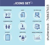 business icons set team... | Shutterstock .eps vector #768637615
