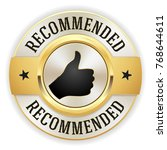 gold recommended button   badge ... | Shutterstock .eps vector #768644611