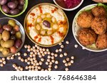 hummus and falafel with the... | Shutterstock . vector #768646384