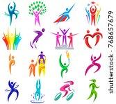 people logo sport vector... | Shutterstock .eps vector #768657679