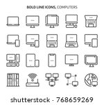computers  bold line icons. the ... | Shutterstock .eps vector #768659269