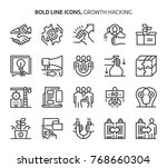 growth hacking  bold line icons.... | Shutterstock .eps vector #768660304
