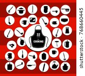 kitchenware icons on the red... | Shutterstock . vector #768660445