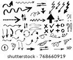 doodle vector arrows. isolated. ... | Shutterstock .eps vector #768660919