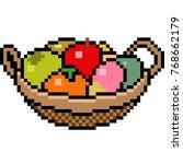 vector pixel art basket fruit... | Shutterstock .eps vector #768662179