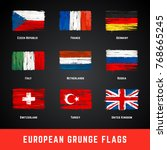 grunge flags vector set.... | Shutterstock .eps vector #768665245