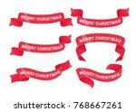 set of red christmas ribbons... | Shutterstock .eps vector #768667261