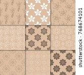 brown beige floral ornaments.... | Shutterstock .eps vector #768674101