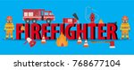 firefighting equipment with... | Shutterstock .eps vector #768677104