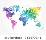 holiday word in shape of world... | Shutterstock .eps vector #768677341