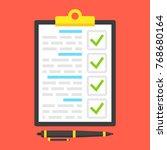 clipboard with green ticks... | Shutterstock .eps vector #768680164