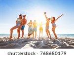 group of happy friends having... | Shutterstock . vector #768680179