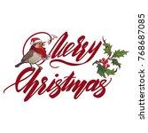 christmas greeting card.... | Shutterstock .eps vector #768687085