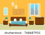 bedroom with furniture and... | Shutterstock .eps vector #768687931