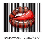 barcode strip makeup of female... | Shutterstock .eps vector #768697579