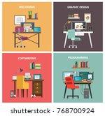 work tables set. designer ...   Shutterstock .eps vector #768700924