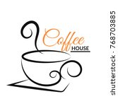 coffee cup  design logo black ... | Shutterstock .eps vector #768703885