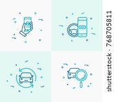 car sharing thin line icons set.... | Shutterstock .eps vector #768705811