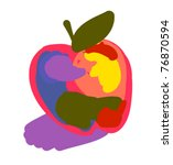 stylized colorful apple | Shutterstock .eps vector #76870594