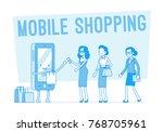 mobile shopping for women.... | Shutterstock .eps vector #768705961