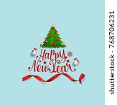 merry christmas and happy new... | Shutterstock .eps vector #768706231