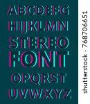stereoscopic alphabet on dark... | Shutterstock .eps vector #768706651