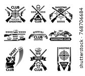 labels set for shooting club.... | Shutterstock .eps vector #768706684